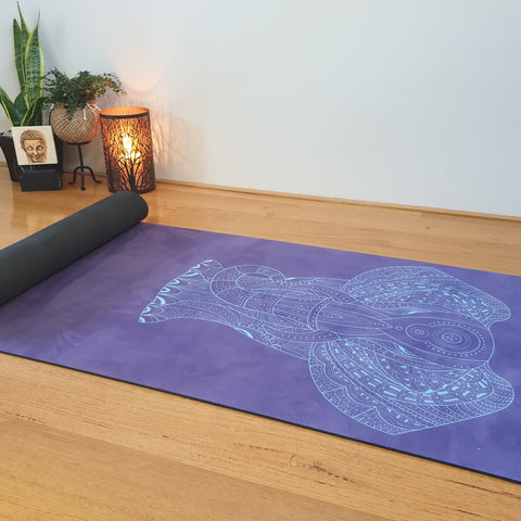 Luxury Eco Yoga Mat - Blue Elephant