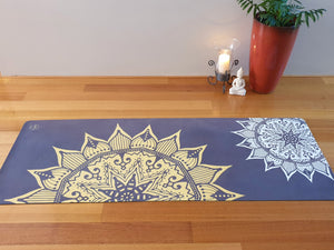 Luxury Eco Yoga Mat - Golden Sun Mandala