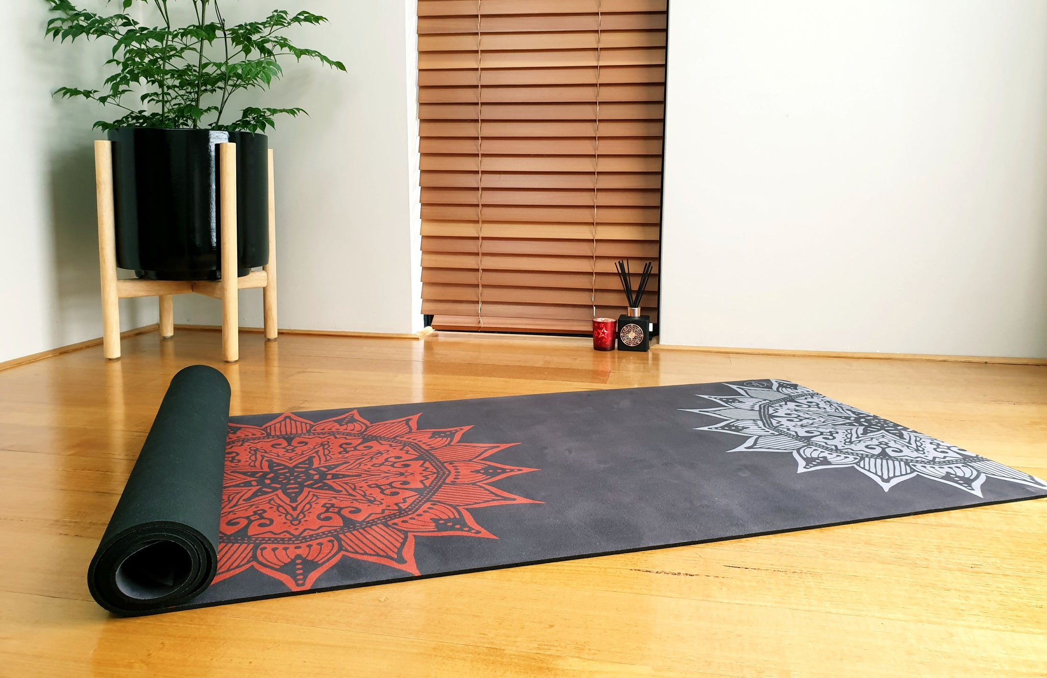 Luxury Eco Yoga Mat - Red Sun Mandala