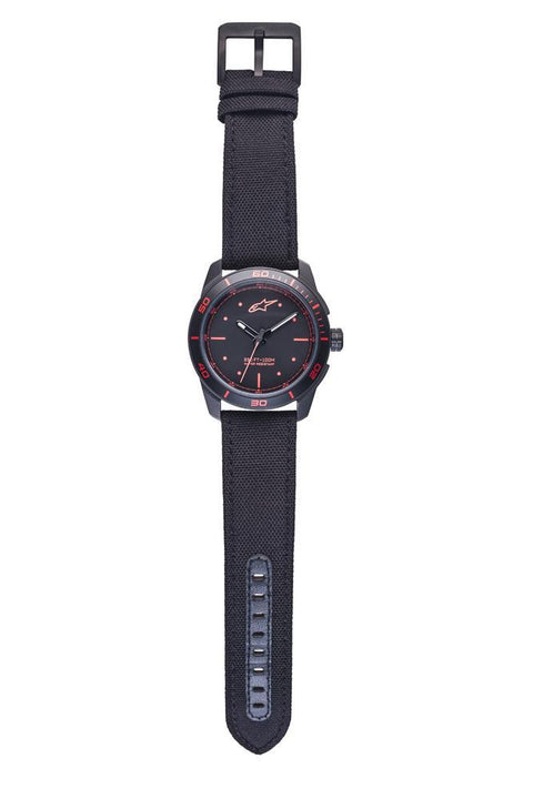 ALPINESTARS TECH WATCH 3 HANDS BLACK -  RED ACCENT - POLY FABRIC STRAP