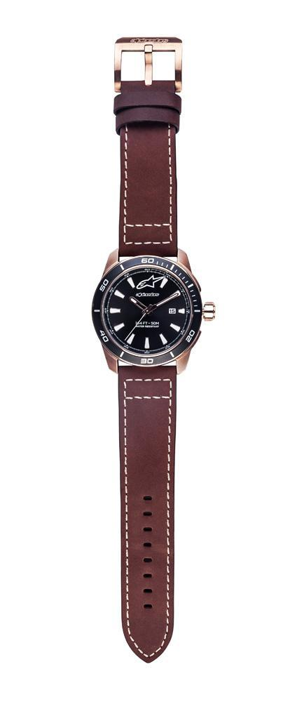 ALPINESTARS TECH WATCH 3 HANDS ROSE GOLD WITH LEATHER STRAP BROWN + ADDITIONAL BLACK POLY FABRIC STRAP STAP - ROSE GOLD BUCKLE