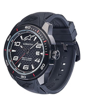 ALPINESTARS TECH WATCH 3 HANDS BLACK PVD STAINLESS STEEL CASE WITH CARBON FIBER DIAL AND PREMIUM INTEGRATED SILICONE STRAP