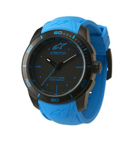 ALPINESTARS TECH WATCH 3 HANDS BLACK STAINLESS STEEEL CASE -  BLUE ACCENT WITH INTEGRATED SILICONE STRAP