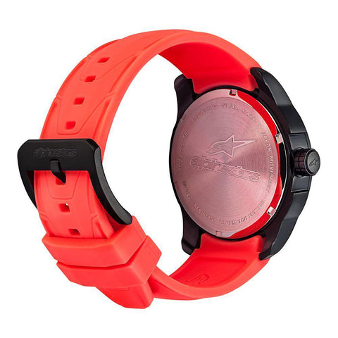 ALPINESTARS TECH WATCH 3 HANDS BLACK STAINLESS STEEEL CASE - ORANGE ACCENT WITH INTEGRATED SILICONE STRAP