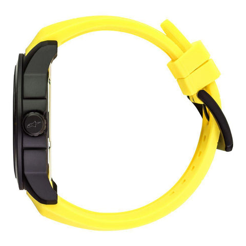 ALPINESTARS TECH WATCH 3 HANDS BLACK STAINLESS STEEEL CASE - YELLOW ACCENT WITH INTEGRATED SILICONE STRAP