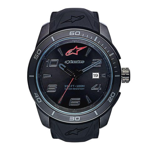 ALPINESTARS TECH WATCH 3 HANDS STAINLESS STEEEL CASE ALL BLACK WITH INTEGRATED SILICONE STRAP