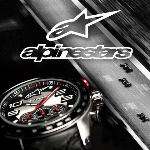 ALPINESTARS TECH WATCH MULTIFUNCTION TIMER STAINLESS STEEL CASE WITH INTEGRATED WHITE PREMIUM SILICONE STRAP