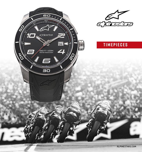 ALPINESTARS TECH CHRONO WATCH BLACK PVD STAINLESS STEEL CASE WITH INTEGRATED PREMIUM SILICONE STRAP