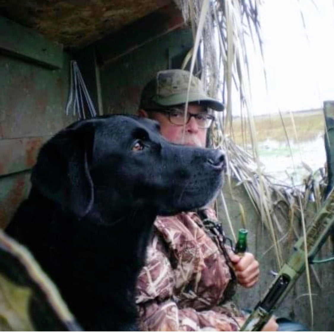 Marley and ME in the duck blind watching for ducks