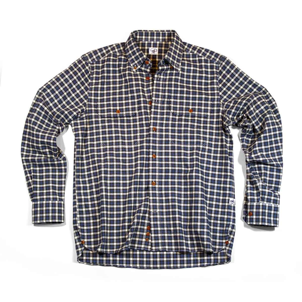 Bayman's Flannel Button-Down Collar Shirt - Blue Tick