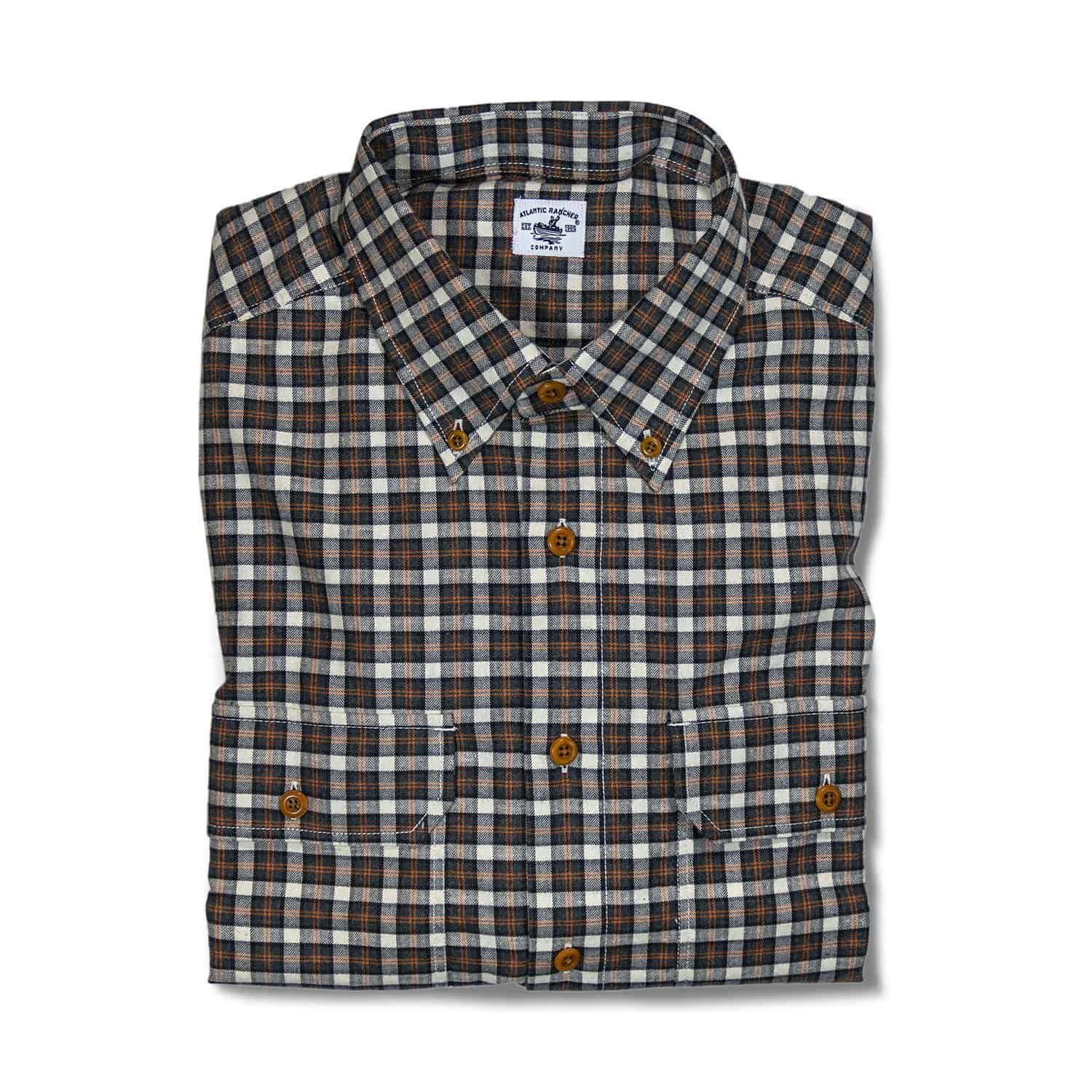 Buy The Bayman's Flannel Button-Down Collar Shirt - Orange Tick