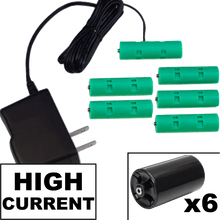 Load image into Gallery viewer, 6 D or 6 AA Battery Eliminator Kit - 9 Volts, High Current 2A - AC Powered - Battery Eliminator Store - Battery Replacement, aa battery to ac power, aaa to ac power, dc power, battery to usb, 9 volt battery to ac power, ac power adapter, 2 aa to ac power, 4 aa to ac power, 3 aaa to ac power, 9v to ac power, ac power supply adapter, cr123a, dummy cell, active cell, battery eliminator, replace battery, eliminate battery, remove battery, convert aa to ac power, 6 aa battery, 2 aa battery, 4 aa batt