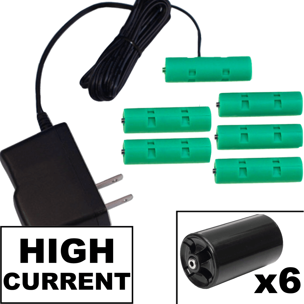 6 D or 6 AA Battery Eliminator Kit - 9 Volts, High Current 2A - AC Powered - Battery Eliminator Store - Battery Replacement, aa battery to ac power, aaa to ac power, dc power, battery to usb, 9 volt battery to ac power, ac power adapter, 2 aa to ac power, 4 aa to ac power, 3 aaa to ac power, 9v to ac power, ac power supply adapter, cr123a, dummy cell, active cell, battery eliminator, replace battery, eliminate battery, remove battery, convert aa to ac power, 6 aa battery, 2 aa battery, 4 aa batt
