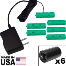 Load image into Gallery viewer, 6 D or 6 AA Battery Eliminator Kit - 9 Volts, 1A - AC Powered - Battery Eliminator Store - Battery Replacement, aa battery to ac power, aaa to ac power, dc power, battery to usb, 9 volt battery to ac power, ac power adapter, 2 aa to ac power, 4 aa to ac power, 3 aaa to ac power, 9v to ac power, ac power supply adapter, cr123a, dummy cell, active cell, battery eliminator, replace battery, eliminate battery, remove battery, convert aa to ac power, 6 aa battery, 2 aa battery, 4 aa battery, 9 volt a