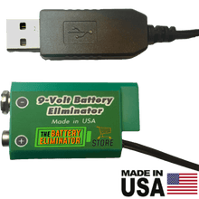 Load image into Gallery viewer, 9 Volt Battery Eliminator - USB Powered - Battery Eliminator Store - Battery Replacement, aa battery to ac power, aaa to ac power, dc power, battery to usb, 9 volt battery to ac power, ac power adapter, 2 aa to ac power, 4 aa to ac power, 3 aaa to ac power, 9v to ac power, ac power supply adapter, cr123a, dummy cell, active cell, battery eliminator, replace battery, eliminate battery, remove battery, convert aa to ac power, 6 aa battery, 2 aa battery, 4 aa battery, 9 volt ac, 120v battery batter