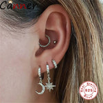 925 Sterling Sliver Moon Star Pair Dangle Earrings