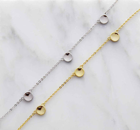 925 Sterling Silver Three Dots Connector Choker Necklace