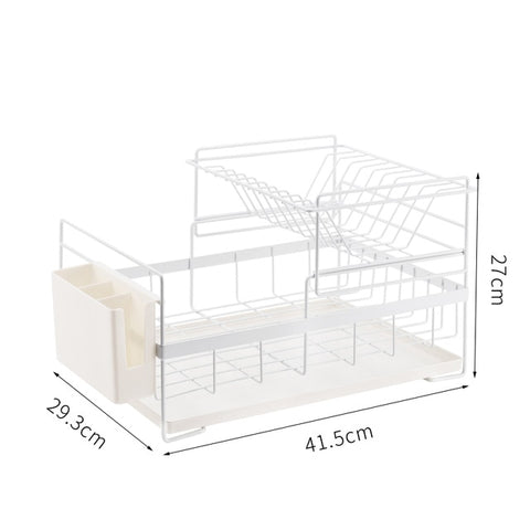 Nordic fashion double-decker dish drainage rack kitchen shelf for tableware, chopsticks, spoons and dishes