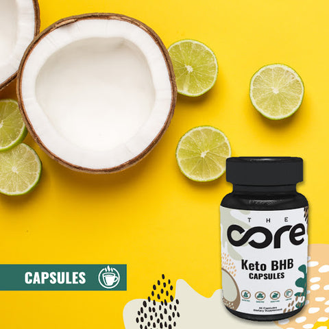 The Core's Keto BHB Capsules with a slice of coconuts and lime against a bright yellow background, for The Core blog