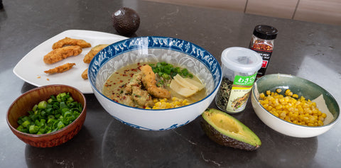 Avomiso Ramen with Ingredients