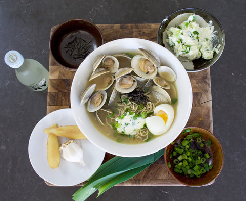 Clam Butter Ramen with Ingredients