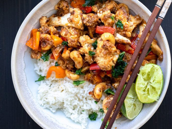 Vegan Chinese food: Kung pao cauliflower