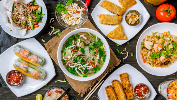 low carb asian food: Table full of food
