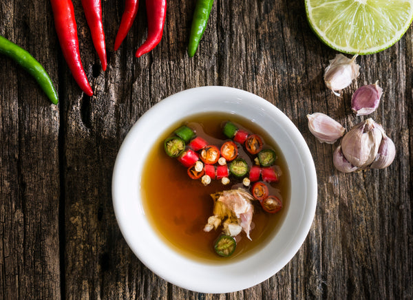 vegan thai food: fish sauce in a bowl