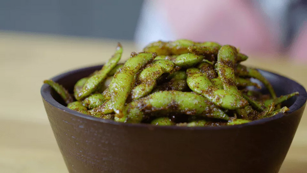 spiced edamame in a bowl