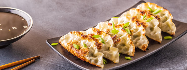 vegan japanese food: plate of gyoza