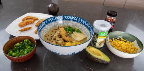 vegan japanese food: avocado miso ramen