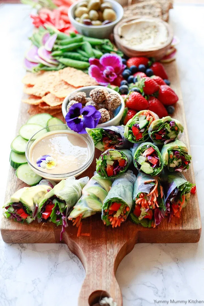 spring rolls in a cutting board