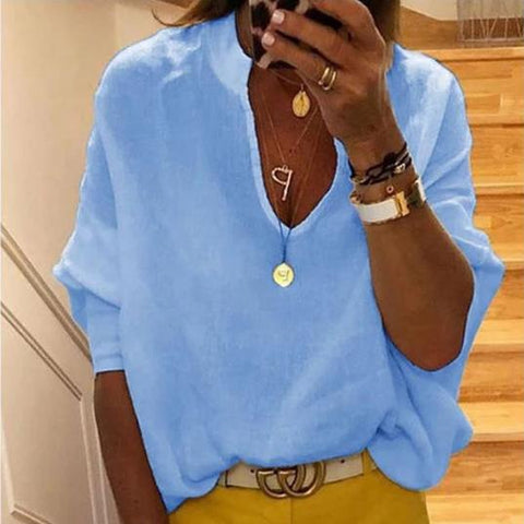 Lulunina Solid Color Plunging Neck Blouse