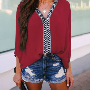 Lulunina Casual Three Quarters Sleeve Patchwork Blouse