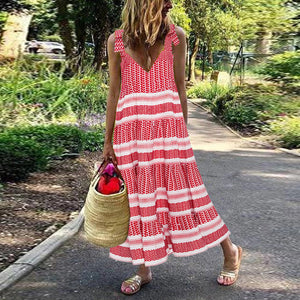 Lulunina Boho Printed Sleeveless Halter Maxi Dress