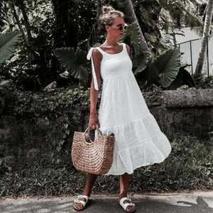 Lulunina White Tied Straps Tiered Dress