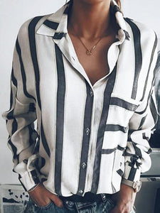 Lulunina Striped Button Shirt Without Neckalce-WHITE-S-LuluNina.com