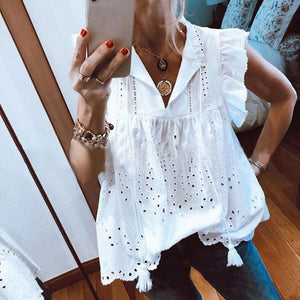 Fashion Short Sleeve V-Neck Lotus Leaf Sleeve Lace Fringe Top-WHITE-S-LuluNina.com