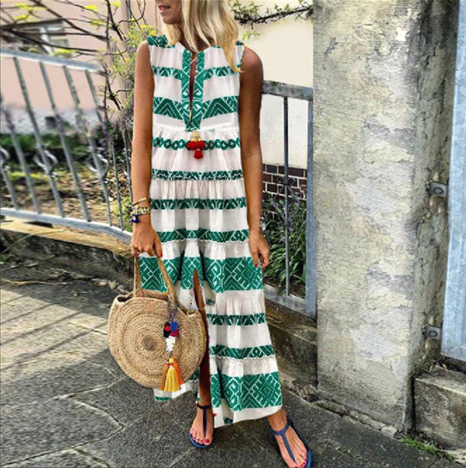 Lulunina Geometric Print Split Front Maxi Dress-GREEN-S-LuluNina.com