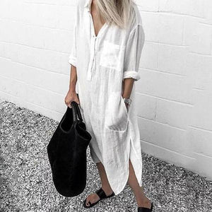 V Neck Casual Long Sleeve Cotton-Blend Dress-WHITE-S-LuluNina.com