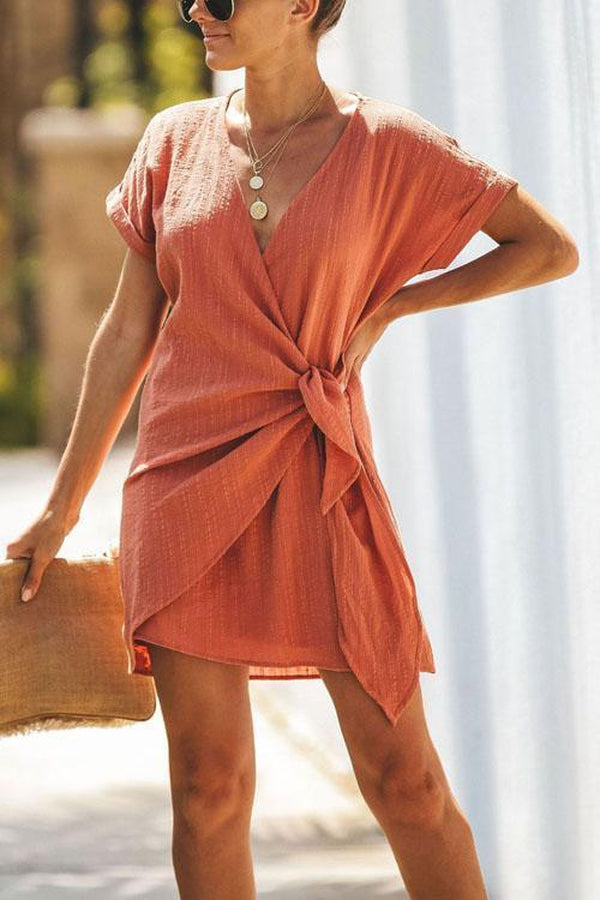 Lulunina Cross V Neck Tie Mini Dress-ORANGE-S-LuluNina.com
