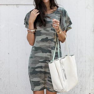 Camouflage Printed Mini Dress-S-GRAY CAMOUFLAGE-LuluNina.com