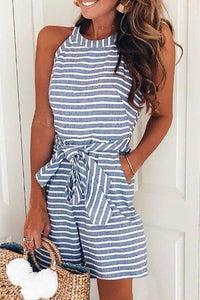Lulunina Bow-Tie Decoration Striped Loose Rompers(3 Colors)-S-BLUE-LuluNina.com