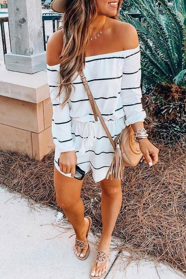 Lulunina Off The Shoulder Striped Cotton Romper-S-WHITE-LuluNina.com