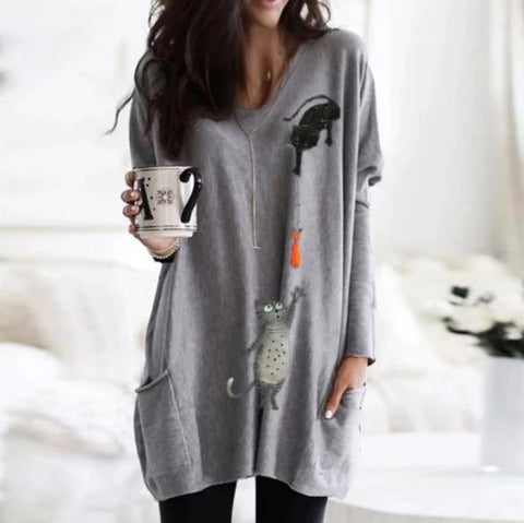 Animal Print V-Neck Long Sleeve Sweatshirt