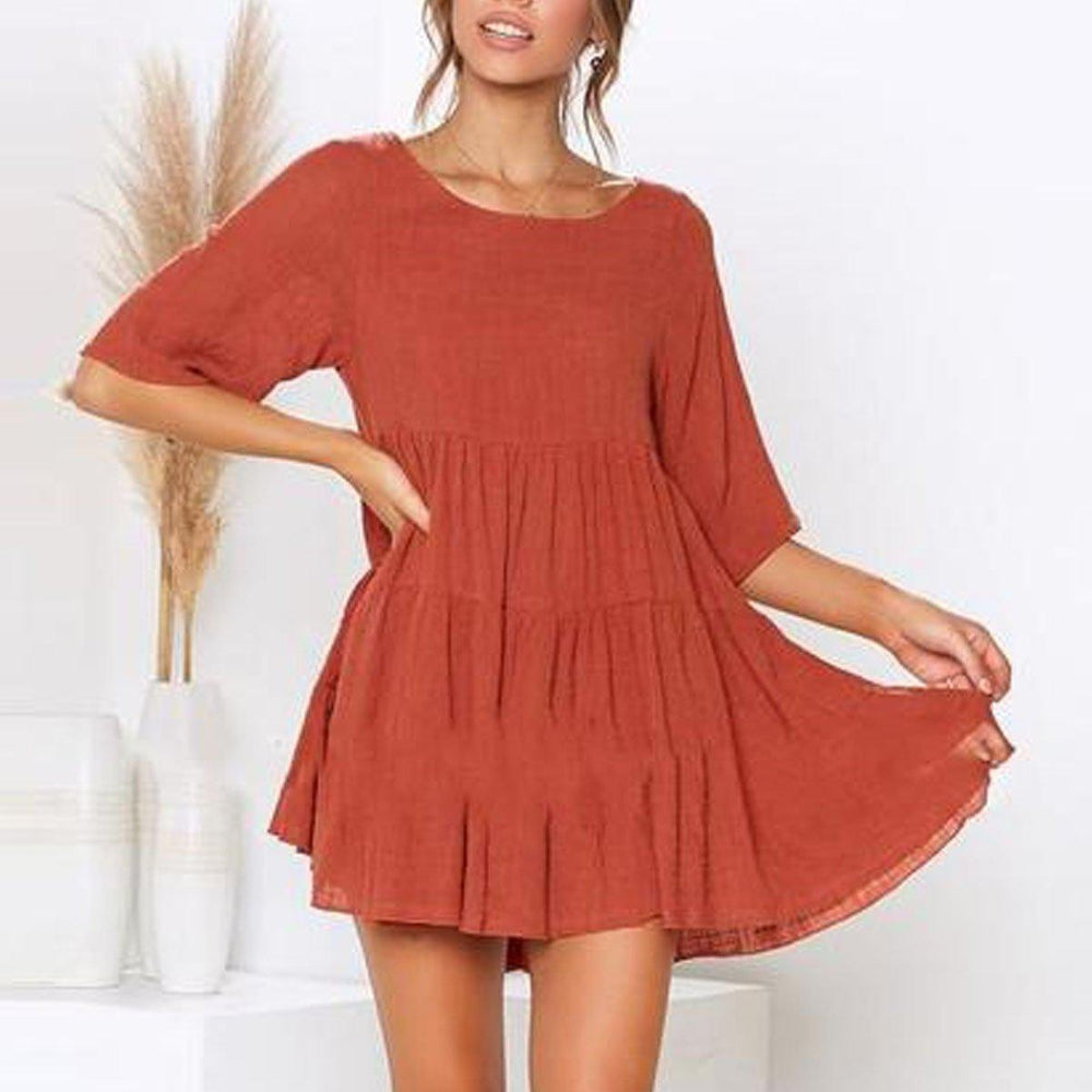 Lulunina Round Neck Solid Color Mini Dress-ORANGE-S-LuluNina.com