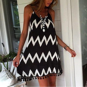 Lulunina Casual Wave Pattern Sleeveless Mini Dress-BLACK-S-LuluNina.com
