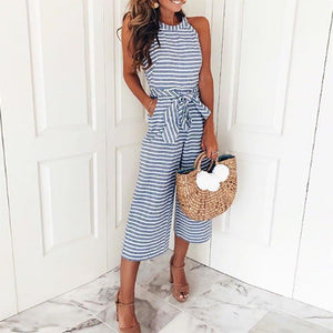 Lulunina Striped Vacation Casual Jumpsuit-BLUE-S-LuluNina.com