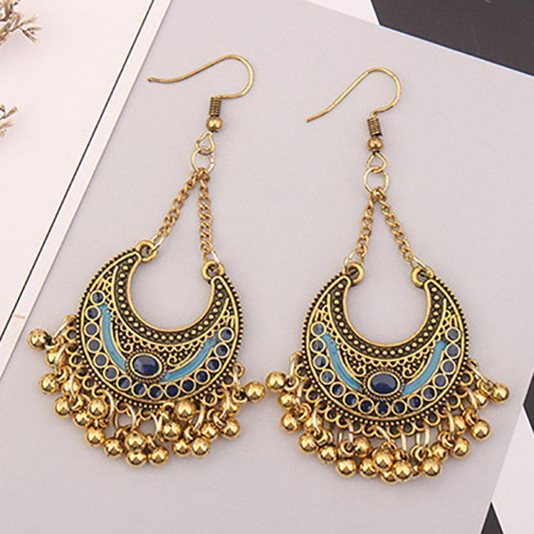 Bohemian Crescent Metal Ball Tassel Earrings-BLUE-ONE SIZE-LuluNina.com