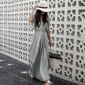 Lulunina Fashion Gray Short Sleeves Maxi Dress-GRAY-S-LuluNina.com